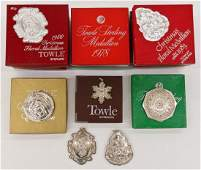17pc Towle Medallion Sterling Christmas Ornaments in