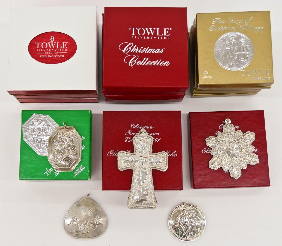 20pc Towle Various Sterling Christmas Ornaments in