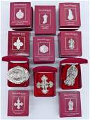 17pc Reed & Barton Red Boxes Sterling Christmas