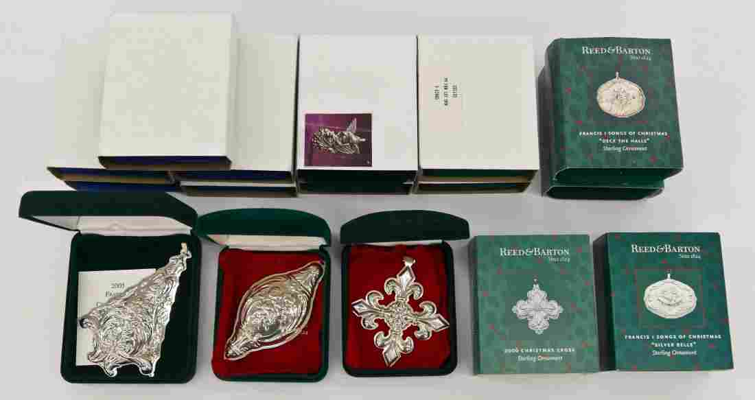 16pc Reed & Barton Green/Blue Boxes Sterling Christmas