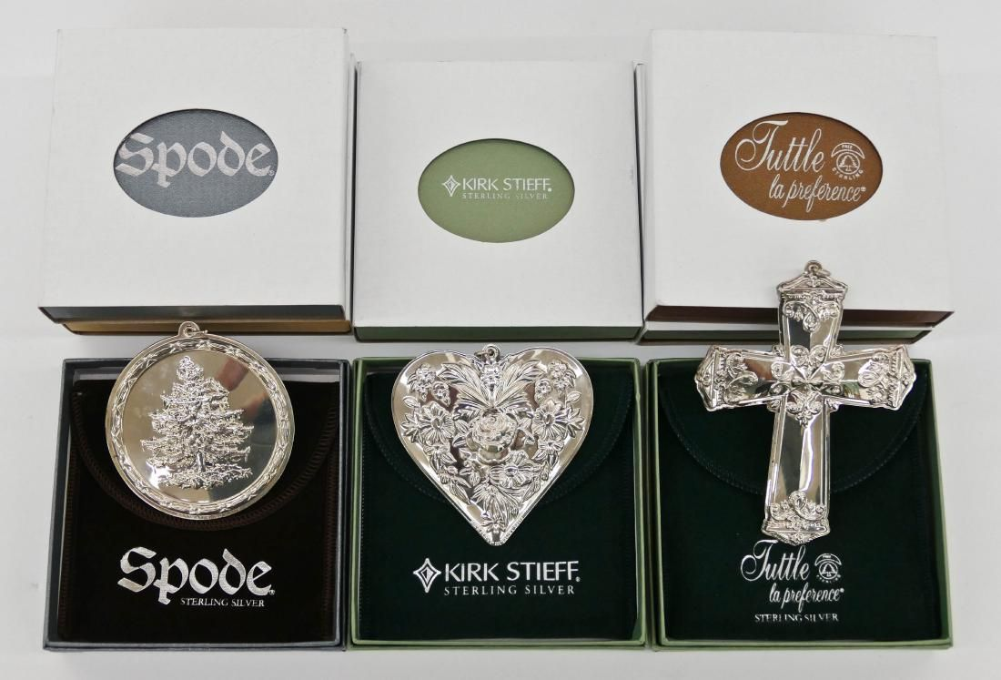 8pc Kirk Stieff, Spode & Tuttle Sterling Christmas