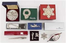 13pc Various Sterling Christmas Ornaments in Boxes.
