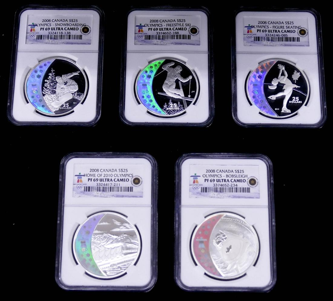 2008 $25 Canada Olympics NGC PF69 Coin Set in