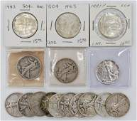 16pc US Walking Liberty Silver Half Dollars Assorted