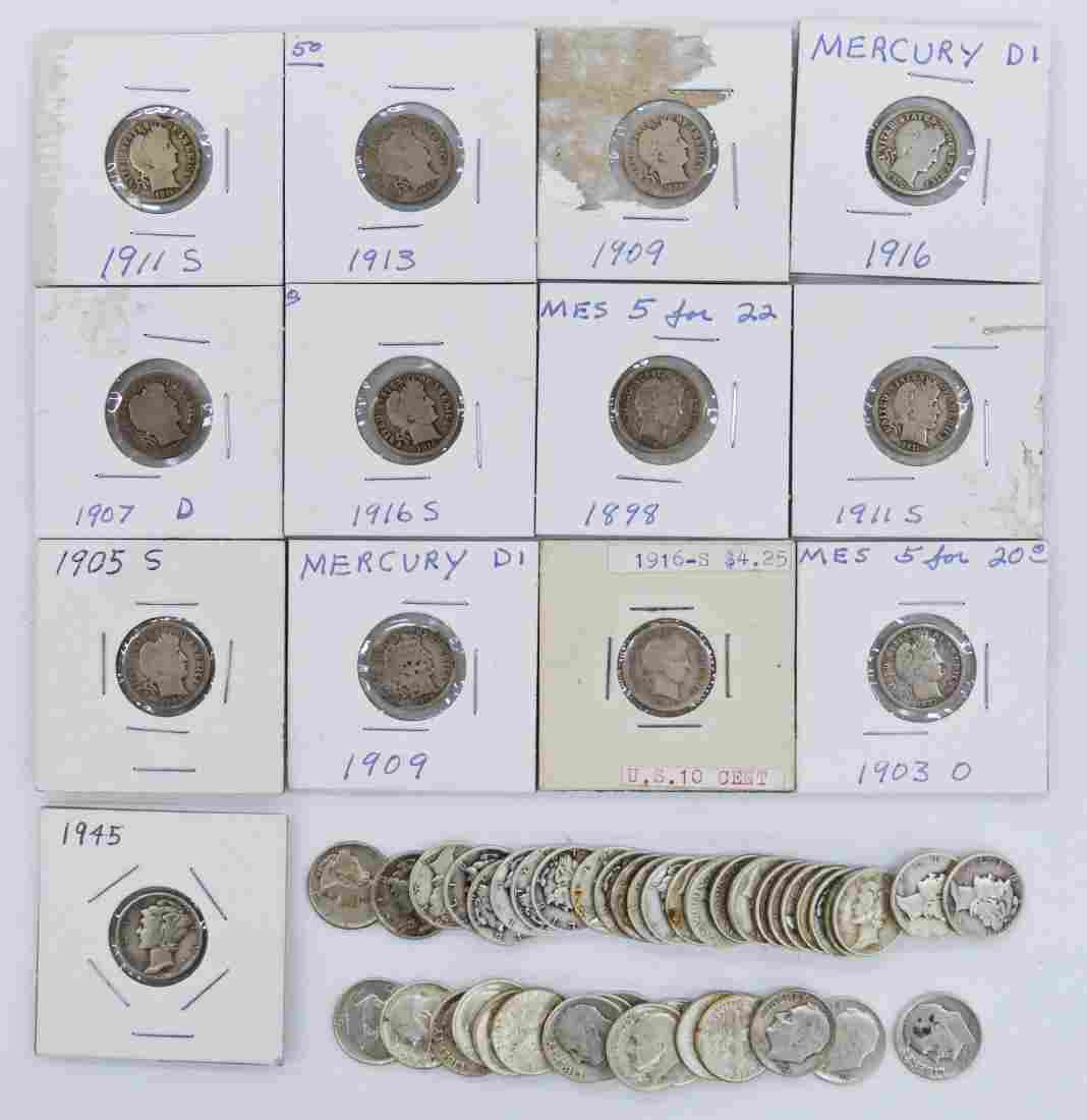 57pc US Assorted Silver Dimes Various Dates. Includes