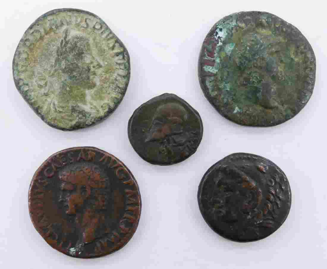5pc Ancient Roman Copper Coins. Loose, as seen
