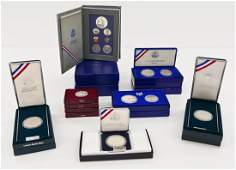 14pc US 90 Silver Commemorative Coin Sets in Boxes