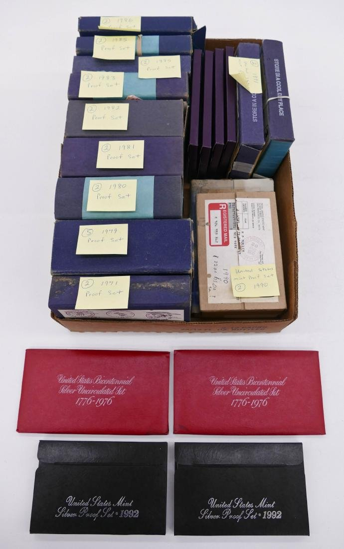 35pc US Mint & Proof Sets in Boxes Various Dates.