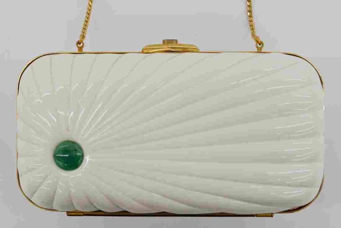 Vintage Judith Leiber White Minaudiere Evening Bag 4.75