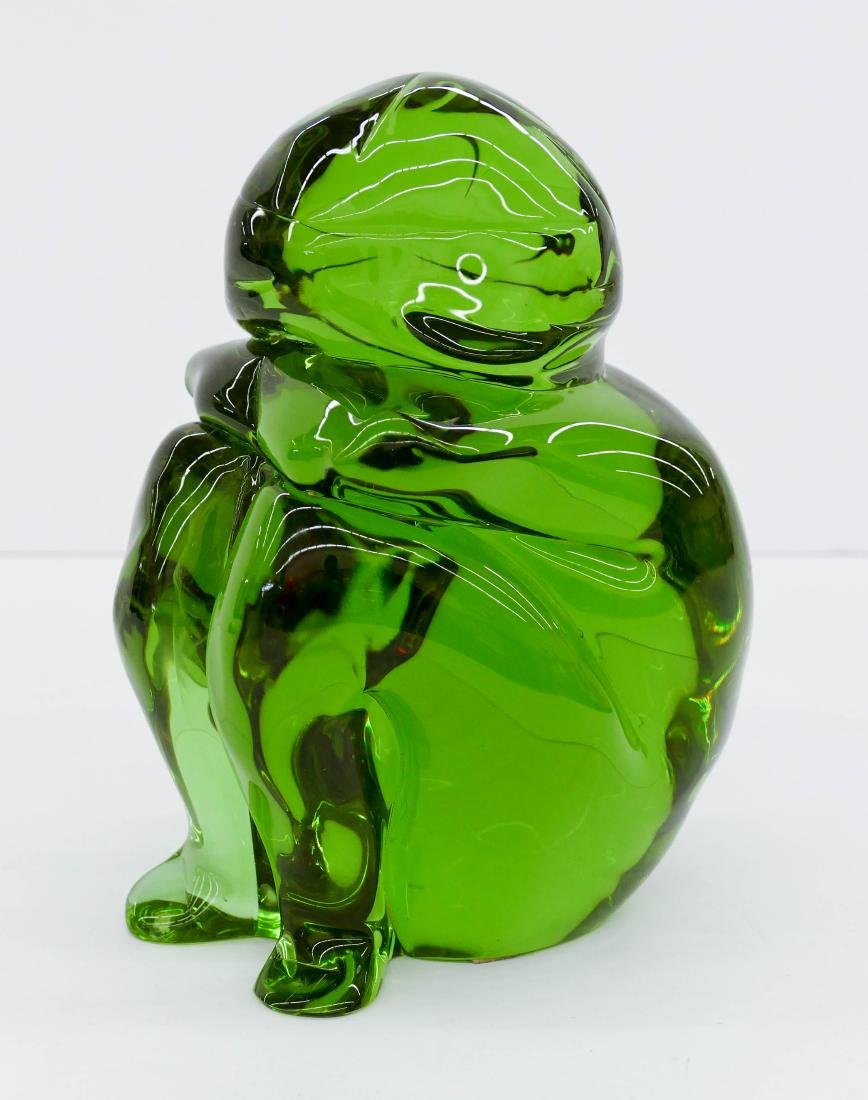 Murano Glass Seated Child Sculpture 9.5''x7''x5''. Lime