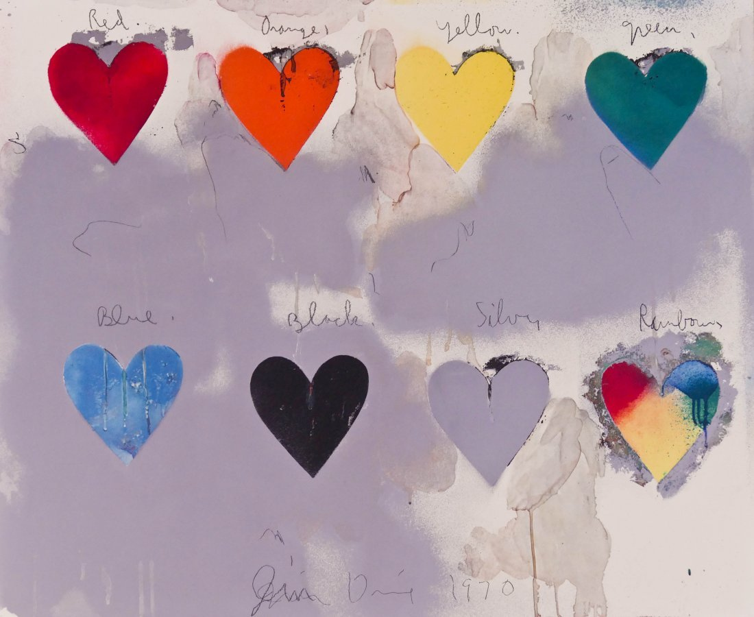 "Jim Dine (b.1935 New York) ""Eight Hearts"" 1970 Lithogra"
