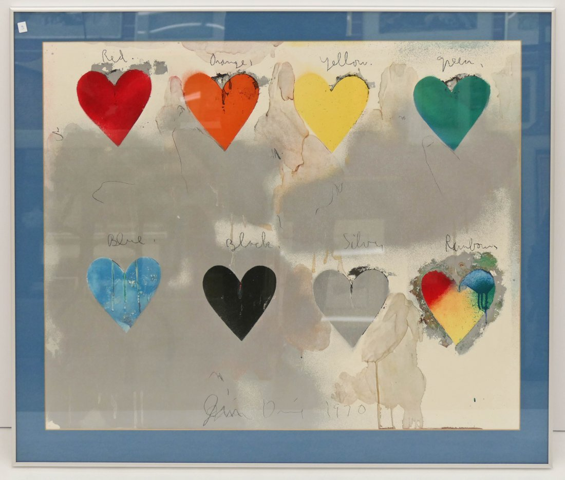 "Jim Dine (b.1935 New York) ""Eight Hearts"" 1970 Lithogra - 2"