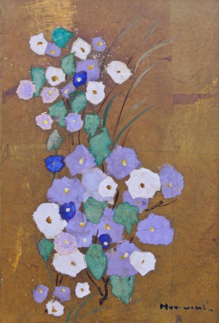 """Paul Horiuchi (1906-1999 Washington) """"Flowers"""" 1975 Cas"""