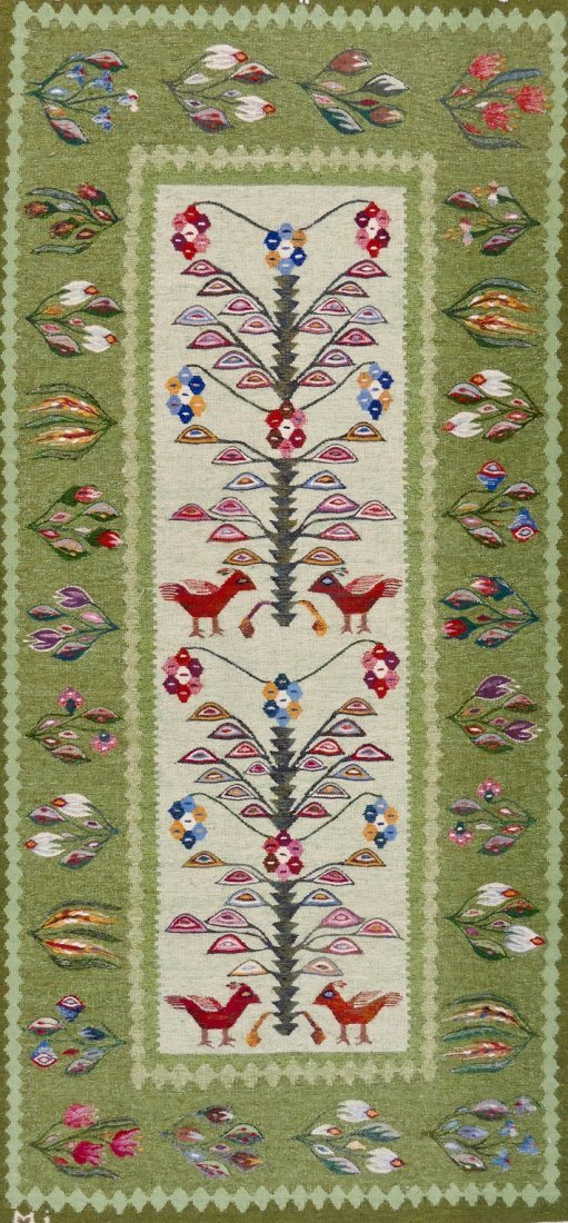 "Swedish Mid Century Hanging Bird Tapestry 78""x37"". Mult"