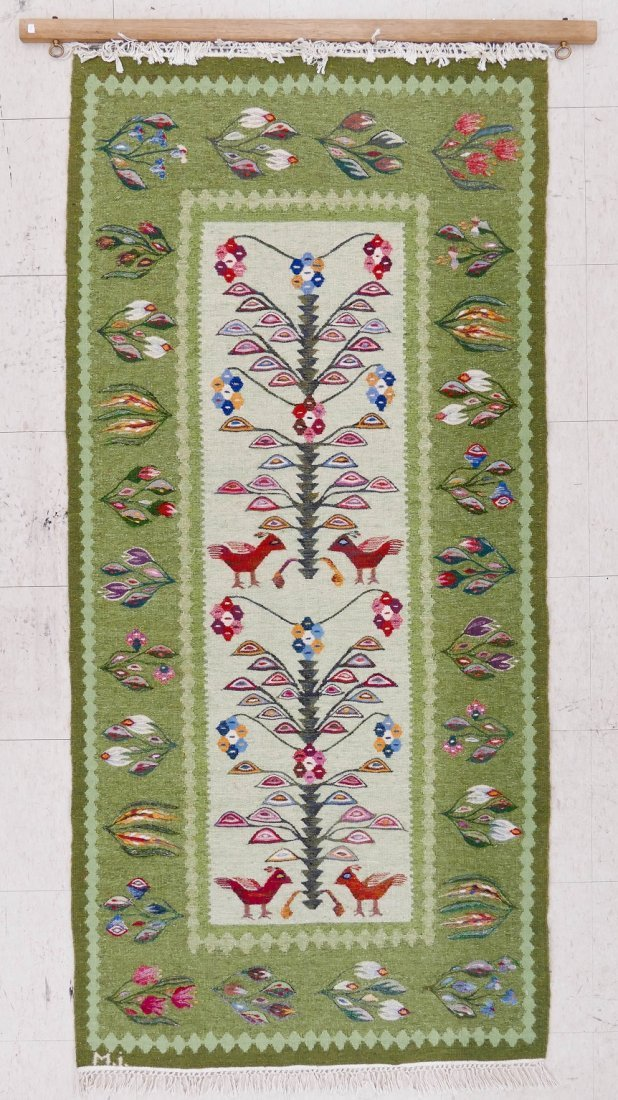 "Swedish Mid Century Hanging Bird Tapestry 78""x37"". Mult - 2"