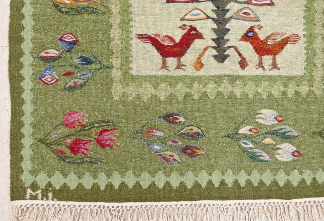 "Swedish Mid Century Hanging Bird Tapestry 78""x37"". Mult - 3"