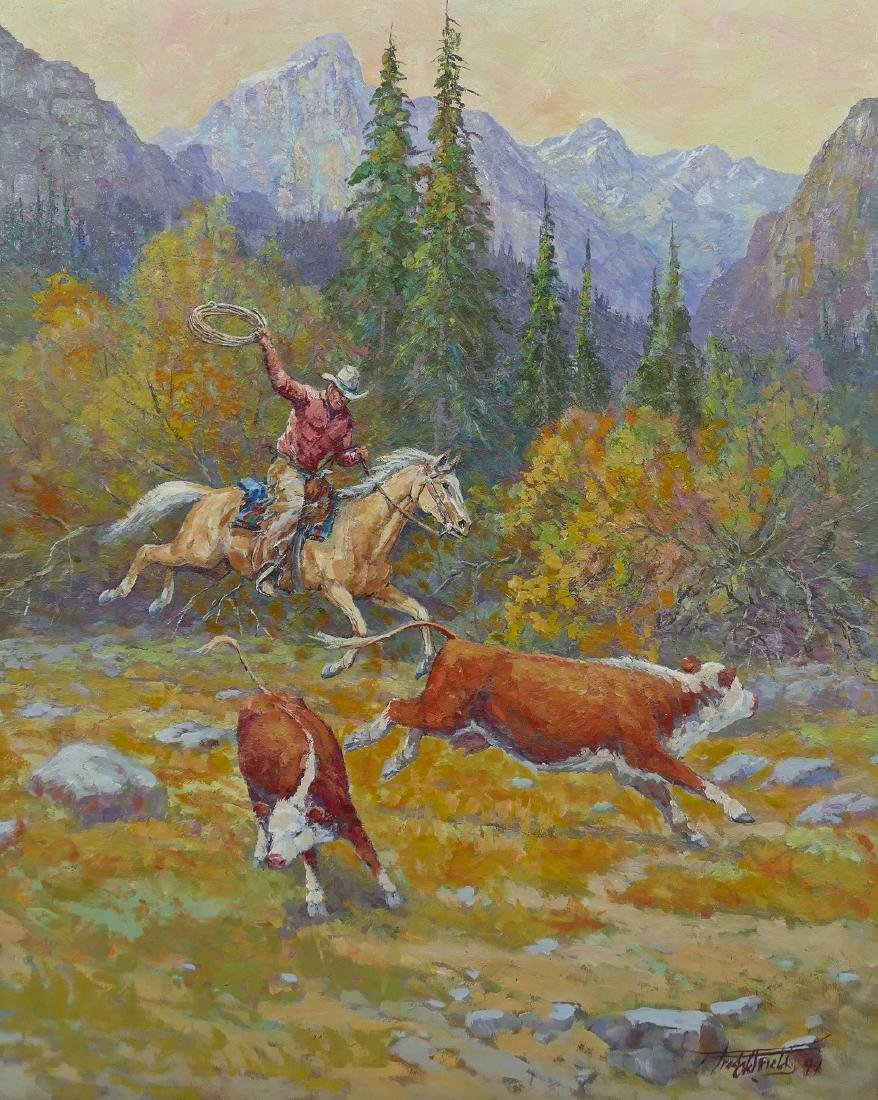 Fred Oldfield (1918-2017 Washington) Cowboy with Cattle