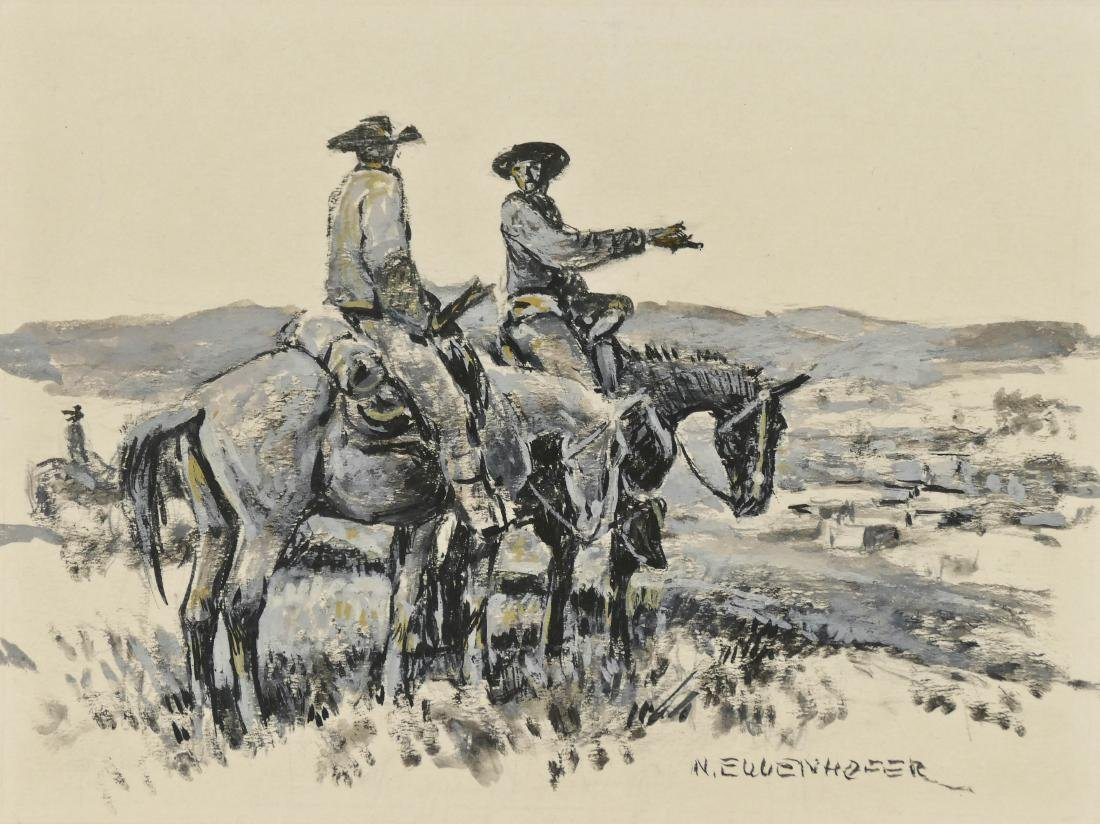 Nick Eggenhofer (1897-1985 Wyoming) Cowboy Drawing