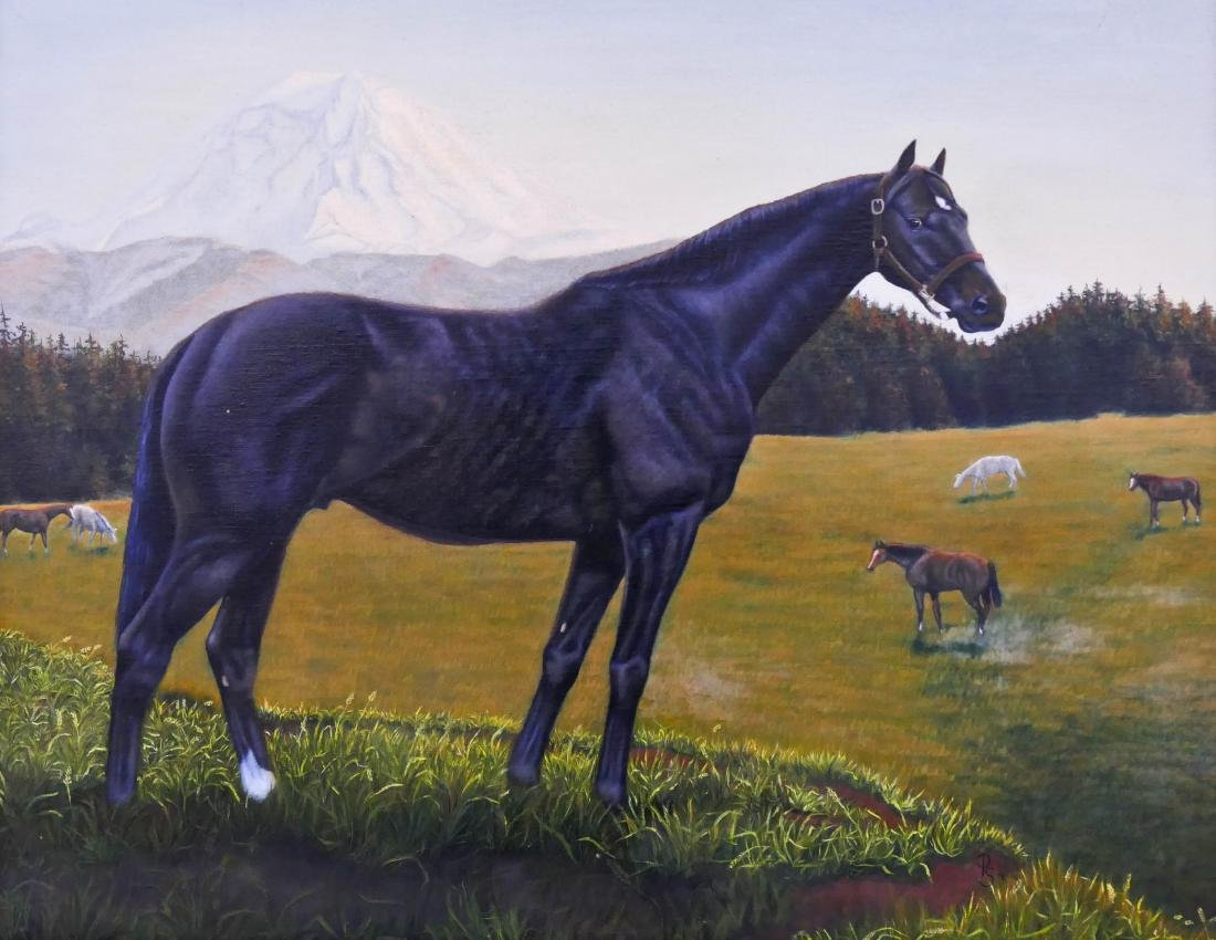 American ''Titular II'' Race Horse Oil on Canvas
