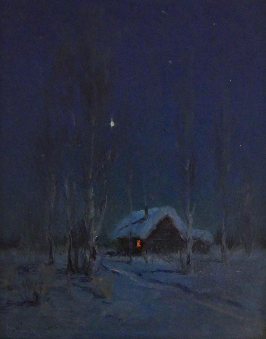 Sydney Laurence (1865-1940 Alaska) Winter Cabin at