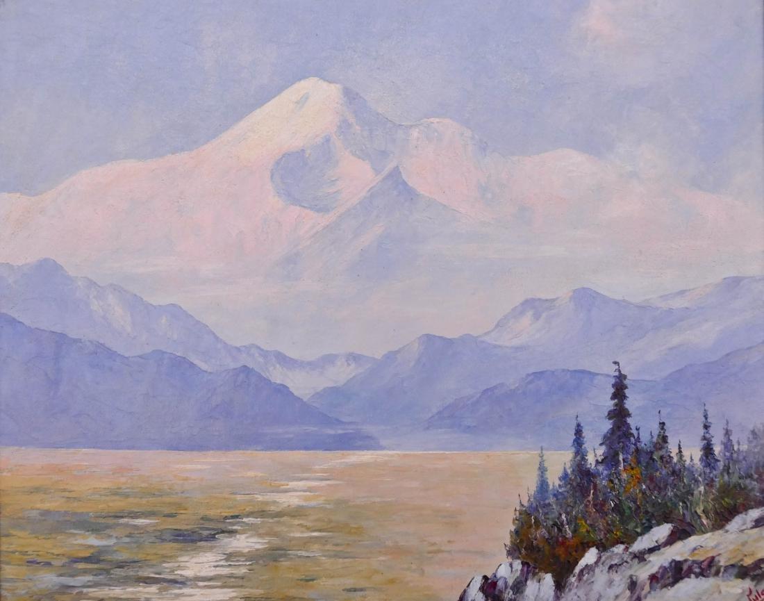 Jules Dahlager (1884-1952 Alaska) Mount McKinley Oil on