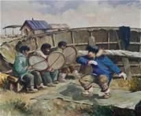 Harvey Goodale (1900-1980 Alaska) Eskimo Dancer Oil on
