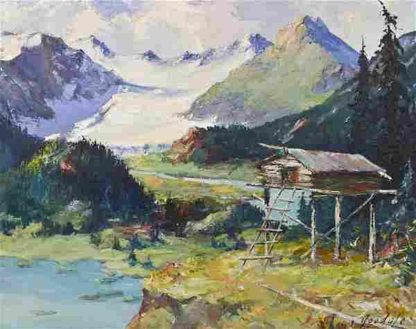 Harvey Goodale (1900-1980 Alaska) ''Portage Glacier &