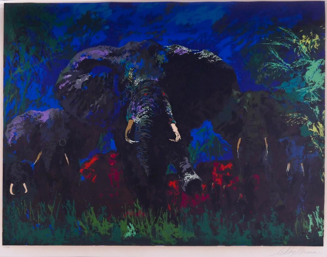 LeRoy Neiman ''Elephant Stampede'' 1976 Silkscreen in