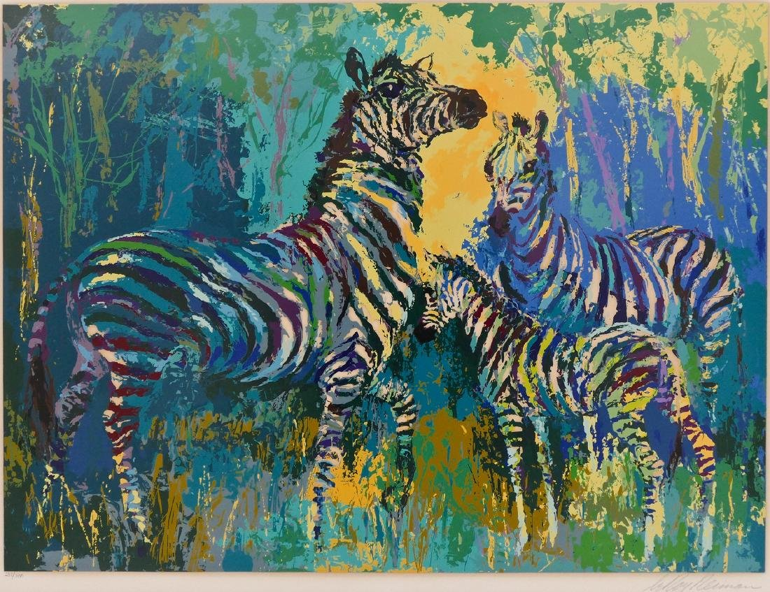 LeRoy Neiman ''Zebra Family'' 1978 Serigraph in Colors
