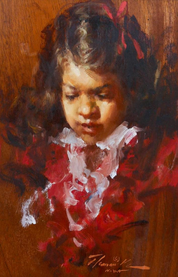 Ramon Kelly (b.1939 Wyoming) ''Red Ribbon Little Girl''