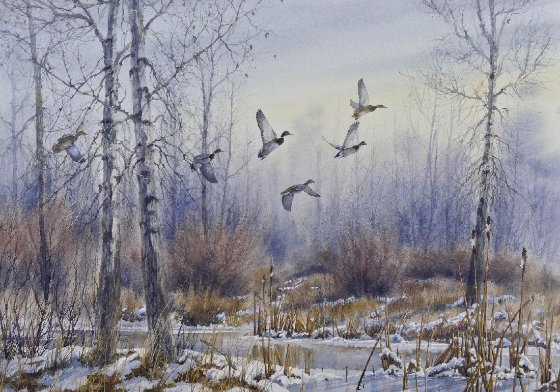 Herb Booth (1942-2014 Texas) Winter Mallards Watercolor