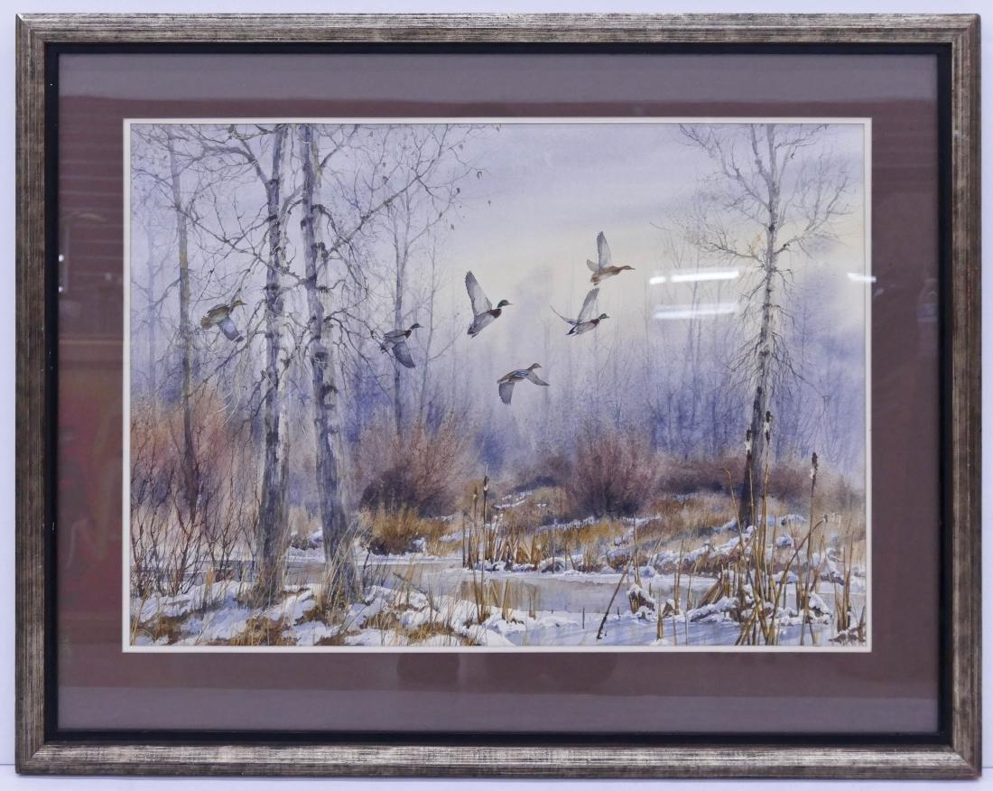 Herb Booth (1942-2014 Texas) Winter Mallards Watercolor - 2
