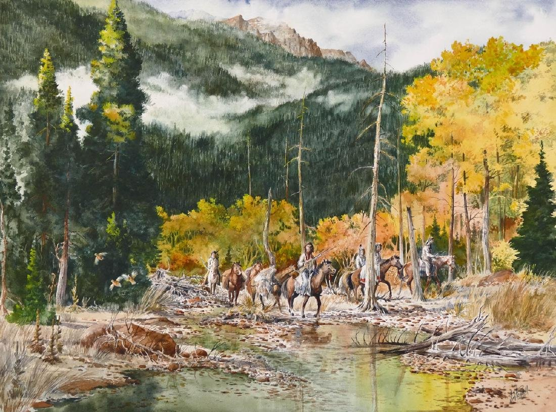Jim Powell (20th Cent. Texas) Indians on Horseback