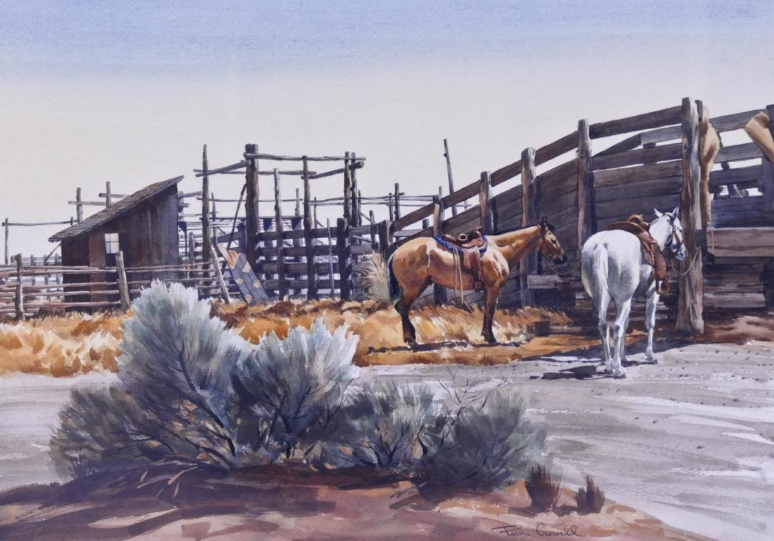 Pers Crowell (1910-1990 Washington) Horse Stable