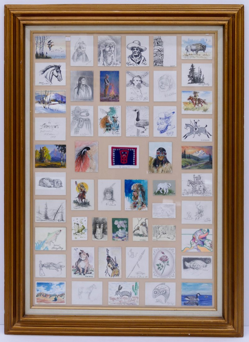 52pc Western Artists Quick Draw Cards Framed 43''x31''.