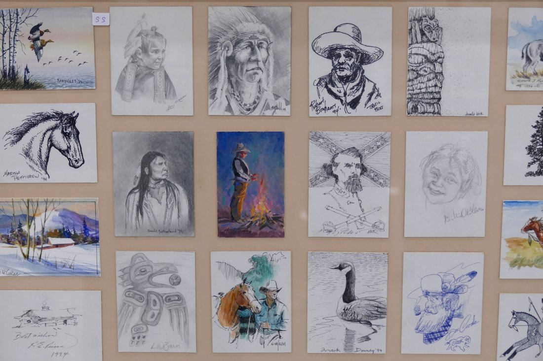 52pc Western Artists Quick Draw Cards Framed 43''x31''. - 2