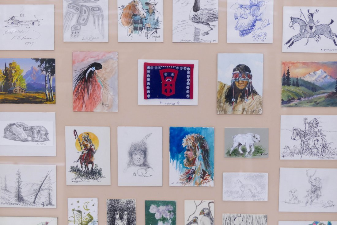 52pc Western Artists Quick Draw Cards Framed 43''x31''. - 3