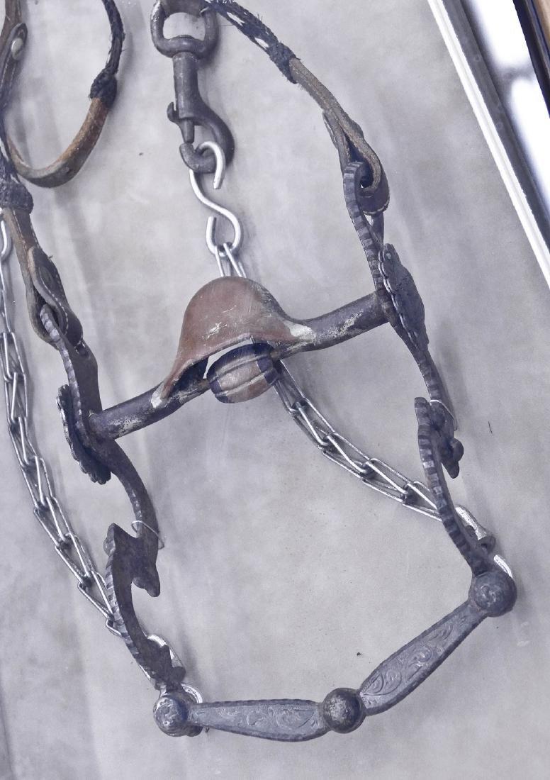 Antique Silvered Horse Bit in Shadowbox Display Frame - 3