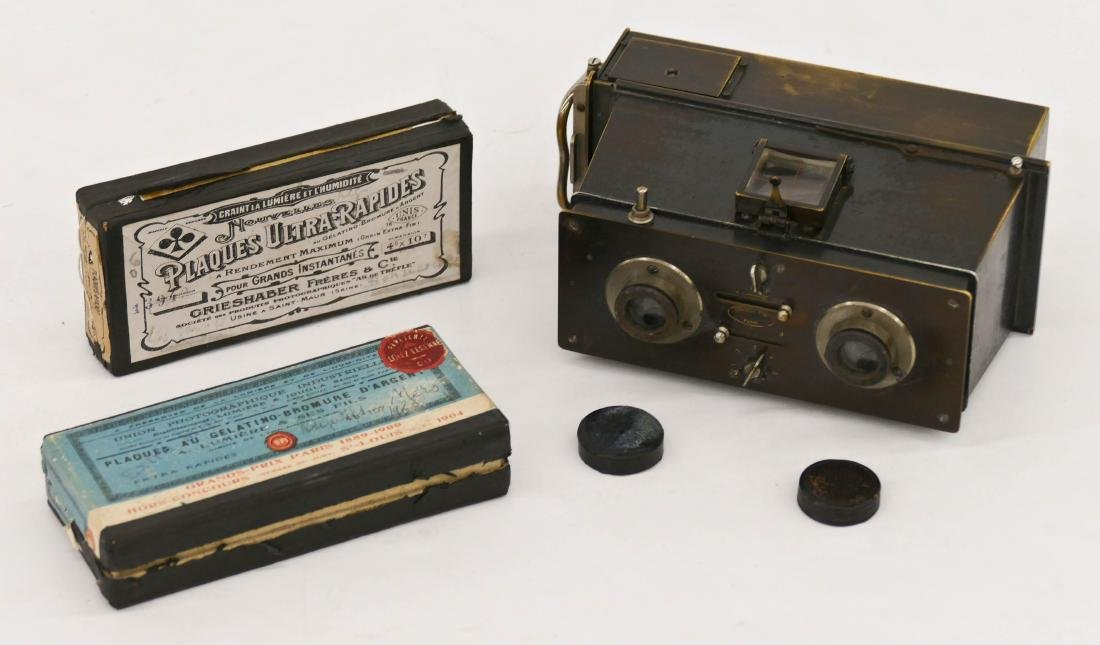 Antique Jules Richard Verascope Stereo Camera with