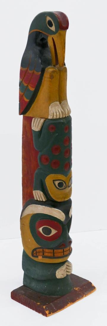 Makah ''Young Doctor'' Carved Totem Pole Model - 3