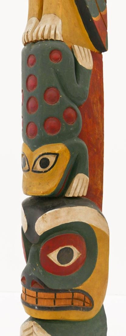 Makah ''Young Doctor'' Carved Totem Pole Model - 5