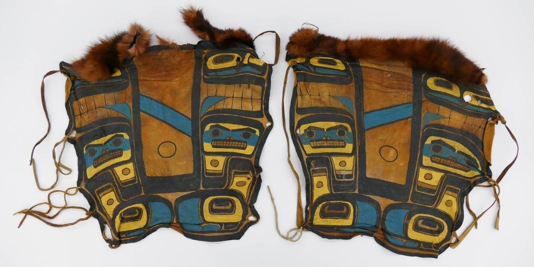 Pair Old Haida Painted Dance Leggings 16''x15'' Each