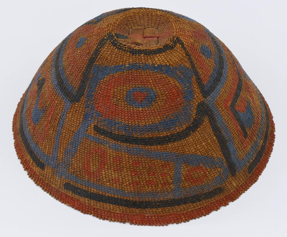 Antique Nootka Painted Basketry Hat 6''x13''.