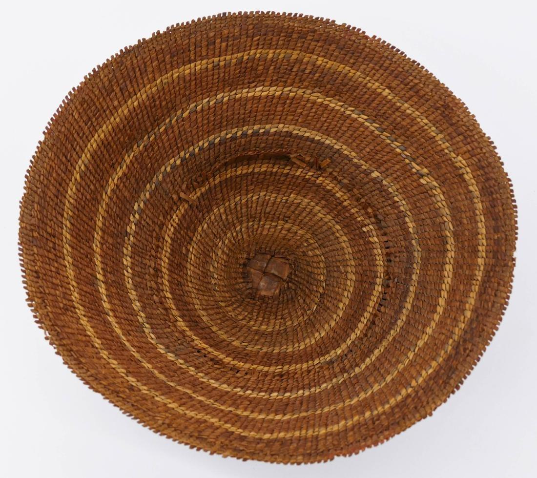 Antique Nootka Painted Basketry Hat 6''x13''. - 4