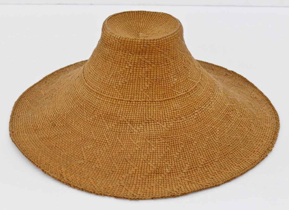 Haida Spruce Root Basketry Hat 5''x15''. Finely woven