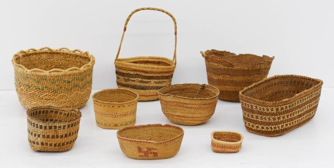 9pc Quinault Indian Baskets Sizes Range 1.5'' to 12''.