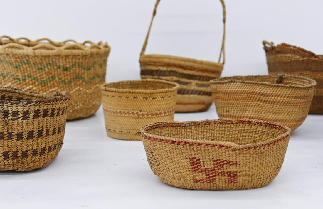 9pc Quinault Indian Baskets Sizes Range 1.5'' to 12''. - 2