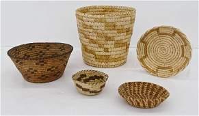 5pc Papago Southwest Indian Baskets Sizes Range 4'' to