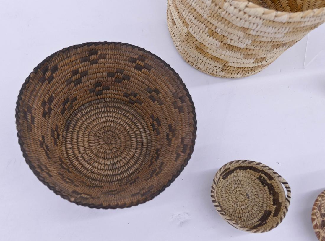 5pc Papago Southwest Indian Baskets Sizes Range 4'' to - 2