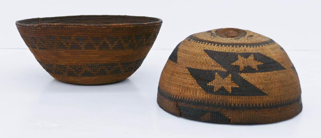 2pc Old California Indian Baskets. Includes a Hupa hat